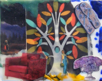 Wanderings - Original Encaustic Collage - Time Traveler Series