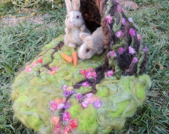 Bunnies and their Warren play set - playscape - needle felted playmat Waldorf Inspired- MADE TO ORDER