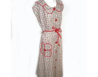 Vinatge 1940s Floral Print Cotton Day Dress Large