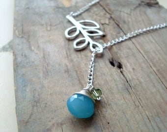 Leaf Lariat Necklace Blue Chalcedony Nature Inspired Silver Bridesmaid Jewelry Leaf Jewelry Gifts Under 40 Long Layering Necklace