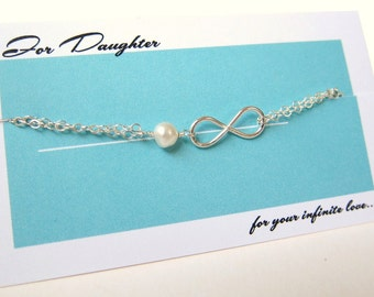 Valentines Days Love for Daughter, Sterling Silver Infinity and Pearl Charm Bracelet Elegant Feminine customized Designs by Yan