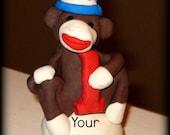 Sock Monkey Customizable Cake Topper