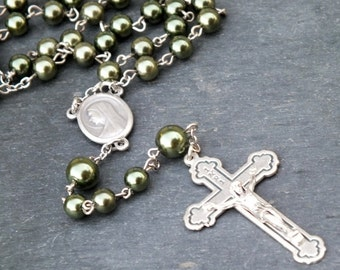Glass Pearl Rosary in Olive Green, 5 Decade Rosary
