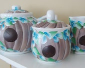 Birdhouse Teapot Cream and Sugar Set Hand Painted
