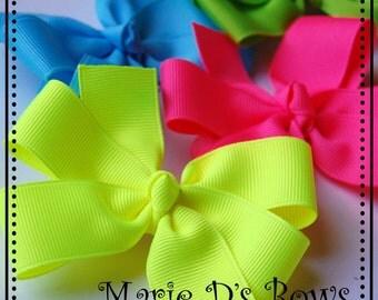 Neons Set of 4 Gracie Ribbon Hair Bows