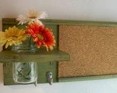 Retro Lime Green Avocado Color Wood Wall Shelf Cork Bulletin Board Message