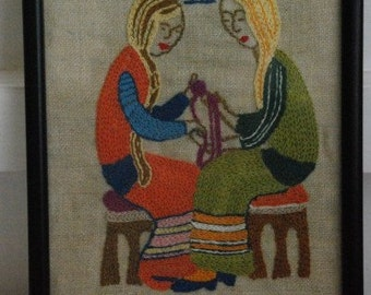 Vintage Original Knitting Women Gemini Friends Embroidery on Linen 1960's