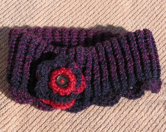 Loom Knit And Hand Crocheted Ear Warmer Headband - Red Hat Ladies - Shades of Purple & Purple/Red Flower