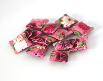 Pink Rose Beads, Polymer Clay Pillow Beads, Dozen - Made to Order