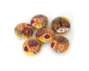 Sunshine Yellow Beads, Polymer Clay Lentil Beads, Monarch Bead Set