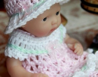 Crochet outfit for Berenguer 7.5 or Circo 8 inch slim baby doll Pink White Mint Green Dress Set Pearl