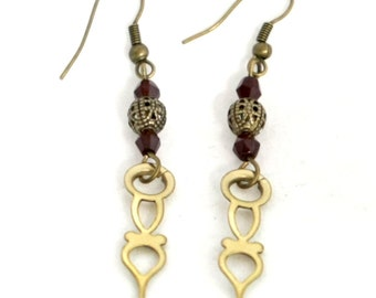 Steampunk Small Matched Brass Clock Hand Earrings with Antiqued Gold and Garnet Beads by Velvet Mechanism
