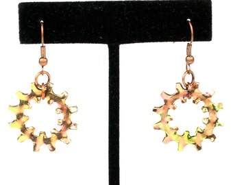 Steampunk Large Copper Clockwork Gear Earrings by Velvet Mechanism