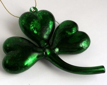Retro Kelly Green Mercury Glass Shamrock Clover St Patrick's Christmas Ornament