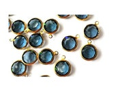6 Dangling beads vintage Swarovski blue crystal Austrian crystal in brass channel can be pendant