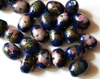 6 Vintage porcelain ceramic beads blue with flowers oval shape 17mmX12mm