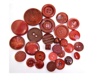 28 Buttons, antique and vintage plastic in bordeaux color, assorted shapes and shades, can be use as beads for button jewelry