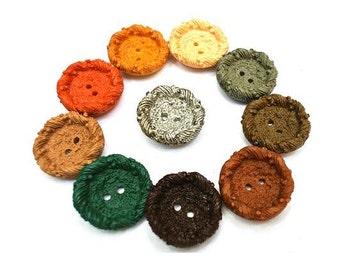 16 Antique vintage buttons, 16 colors 24mm