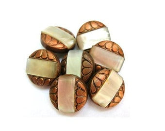 6 Antique vintage buttons, bronze color plastic buttons with white trim, 18mm beautiful buttons