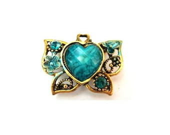 Metal bead, jewel trim, antiqued brass with heart shape acrylic turquoise rhinestone