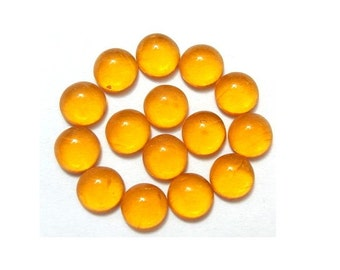 14 Vintage glass cabochons translucent yellow honey color 6mm