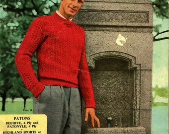 Vintage Mad mens knitting patterns 1950s mid century Sweaters Vest Cardigan Helmet Pullover Book 519