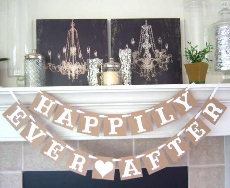 Happily Ever After Wedding Banner Rustic Wedding By