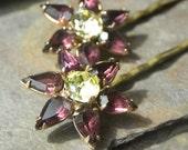 True Vintage HAIRPINS, deep purple amethyst and yellow sparkling Rhinestone Star shape - Bridal, Prom, or Wedding hair accessories