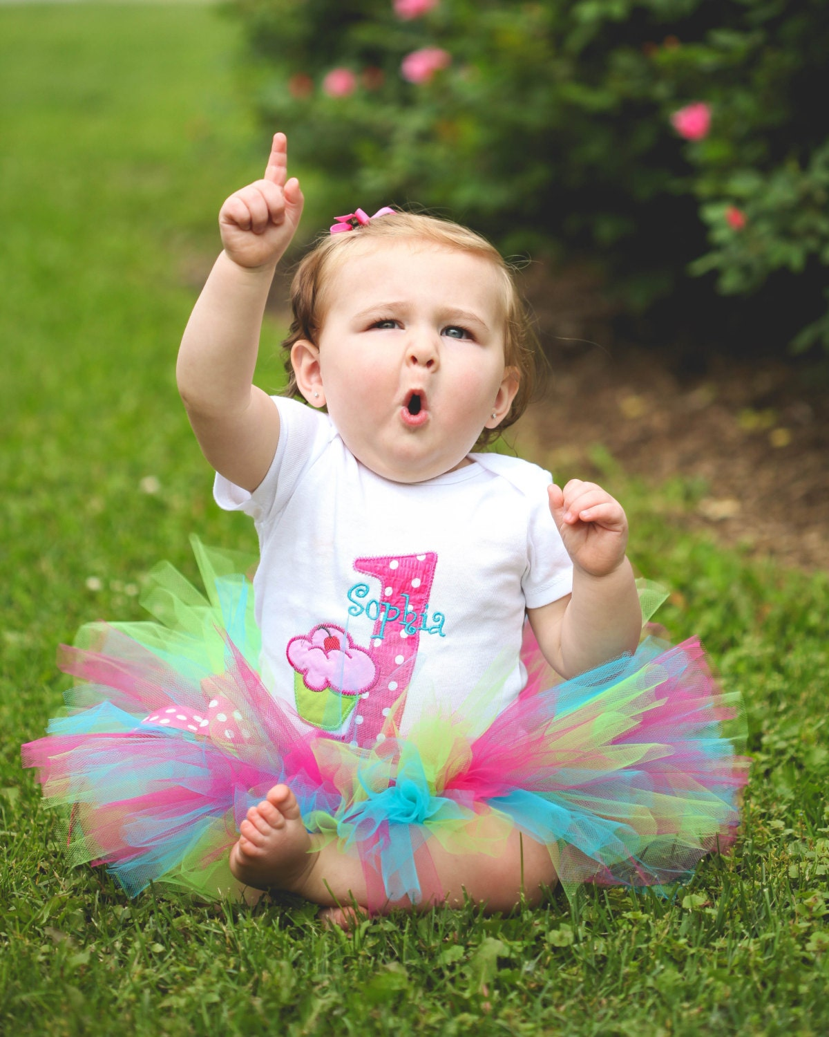 Birthday Party Outfit: Baby Girl 1st Birthday Outfit First Birthday Tutu Cupcake