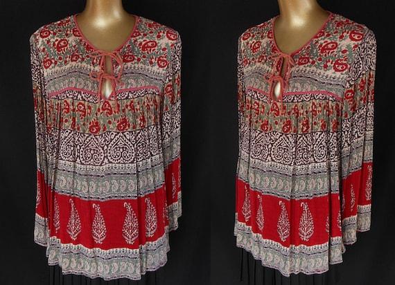 Vintage 70s Cotton Gauze East Indian Boho Ethnic Border Print Festival Blouse - Size L to XL