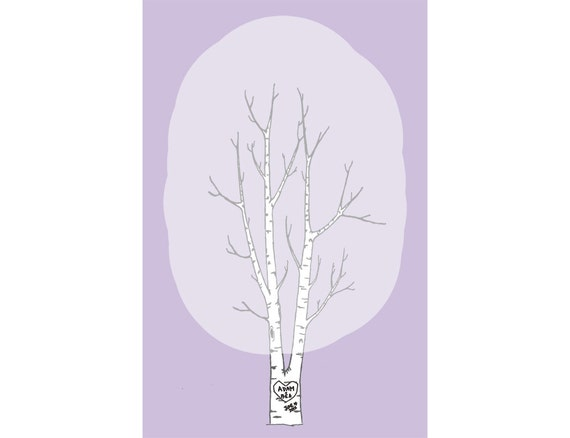 custom wedding fingerprint tree print: twin birch