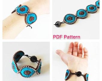 PDF patten - Crochet cuff, bracelet with beads