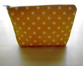 Polka Dots Bright Summer Yellow - Large Zippered Pouch