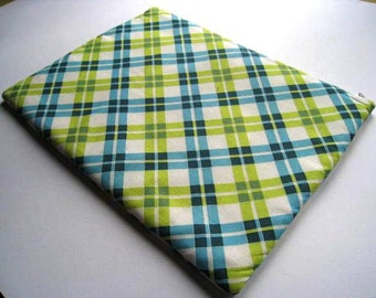 """Blue Plaid - Macbook 13"""" Air or Macbook 13 Inch Pro - Laptop Case - Laptop Sleeve - Cover - Bag - Padded and Zipper Closure"""