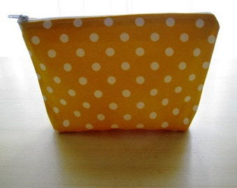Polka Dots Bright Summer Yellow - Large Zippered Pouch Bag Zipper Case - Ready to Ship
