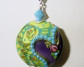Turquoise Rose Pendant with Swarovski Crystals and Sterling Silver