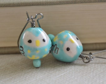Aqua Owl Ceramic Earrings, Gunmetal, Kidney Wire Earrings, Retro, Hipster