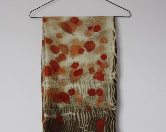 Big Merino Wool Scarf Naturally Printed with Plants, Free International Shipping
