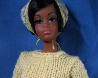 Barbie Clothes - Yellow Sweater, Pants and Skirt Set