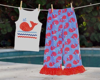 Girls Summer Whale Outfit Tank Capris Ruffle Pants Applique Maddie Kate Holiday 4th of July