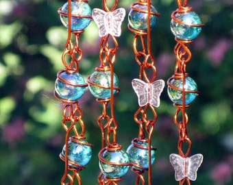Iridescent Teal Suncatcher with Copper Wrapped Marble Prisms and Petal Pink Glass Butterflies, Home Decor