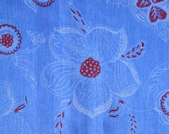 4 yds vintage fabric - 60s or 70s - blue and red floral design