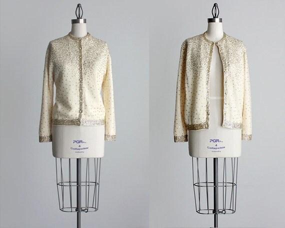 Cream Sequin Cardigan 1960s Vintage Cream And Gold Sequin Cardigan Sweater