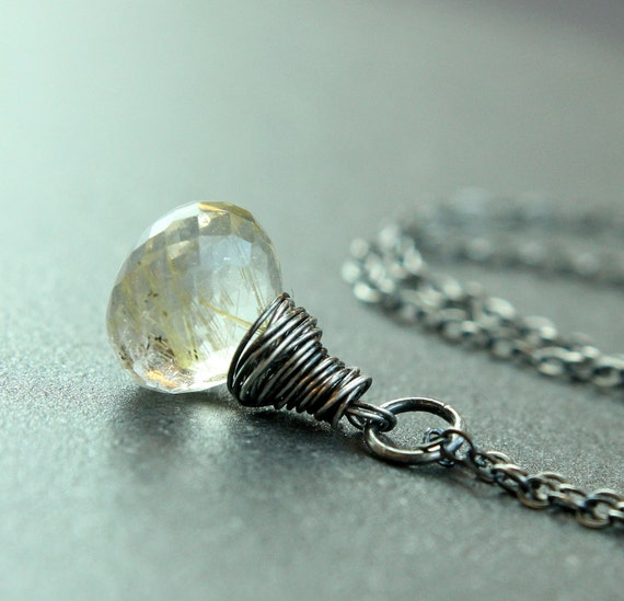 Drop Necklace  Rutilated Quartz Necklace  Oxidized Silver Gemstone Jewelry  Gem Pendant Quartz Jewelry   Golden Necklace Stone Pendant