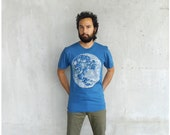 SALE - Organic cotton mens tshirt - size Small - full moon screenprint on American Apparel teal blue t shirt - gift for him - blackbirdtees
