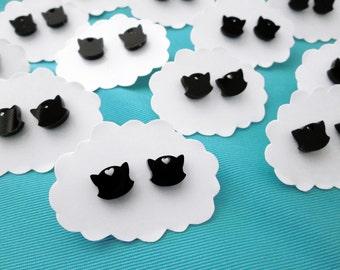 Kitty Cat Earrings - Black Acrylic Studs