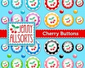 Cherries Digital Buttons Clip Art  - Scrapbook Embellishments - Instant Download