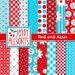 Red and Aqua Digital Scrapbook Paper - 16 Sheets - Instant Download