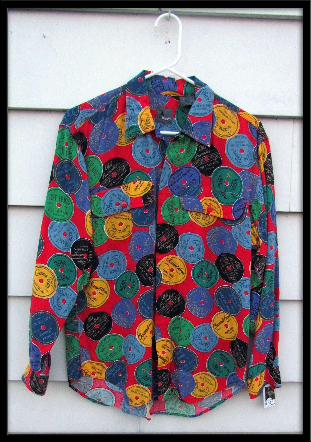 Mens 1980s Vintage Shirt 45 Vinyl Record Labels Rayon Liz