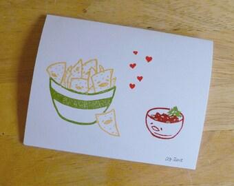 Chips Love Salsa Single Notecard